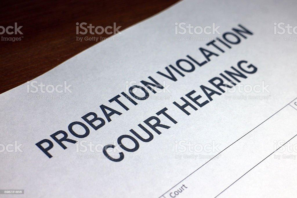 Probation Violation Court Hearing Document foto royalty-free