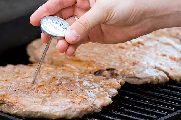 A probe being inserted to check the meat stock photo