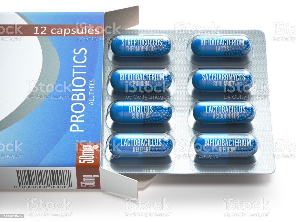 Probiotics. Blister box with all types of probiotics capsules. Pills with bifidobacterium, lactobacillus, sacchaomyces and othes bacillus. stock photo