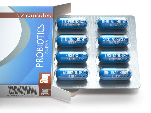 Probiotics. Blister box with all types of probiotics capsules. Pills with bifidobacterium, lactobacillus, sacchaomyces and othes bacillus. Probiotics. Blister box with all types of probiotics capsules. Pills with bifidobacterium, lactobacillus, sacchaomyces and othes bacillus. 3d illustration bifidobacterium stock pictures, royalty-free photos & images