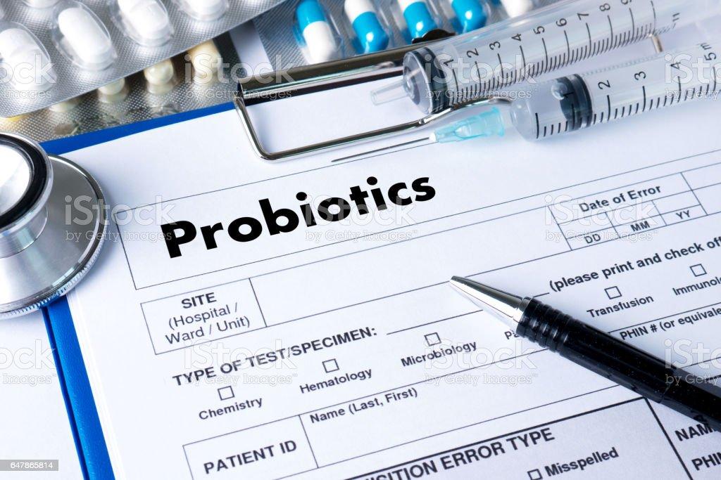 Probiotics medical equipment  eating healthy concept. stock photo