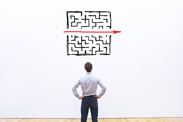 problem and solution concept problem and solution concept, business man thinking about exit from complex labyrinth smooth stock pictures, royalty-free photos & images