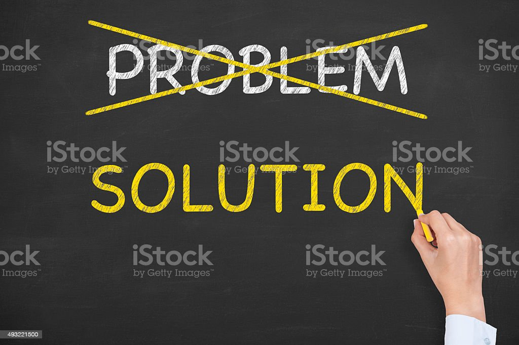 Problem and Solution on Blackboard stock photo