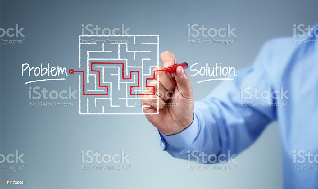 Problem and solution strategy stock photo