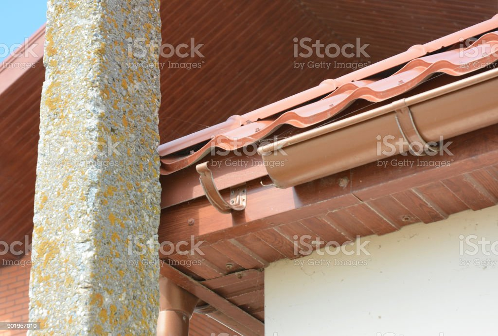 Problem Areas for Rain Gutter.  Home Guttering, Gutters, Plastic Guttering System, Guttering & Drainage Pipe Exterior stock photo