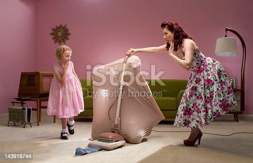 glam retro housewife sorts her husband