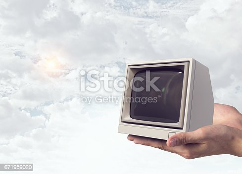 istock Problem of television addiction . Mixed media 671959020