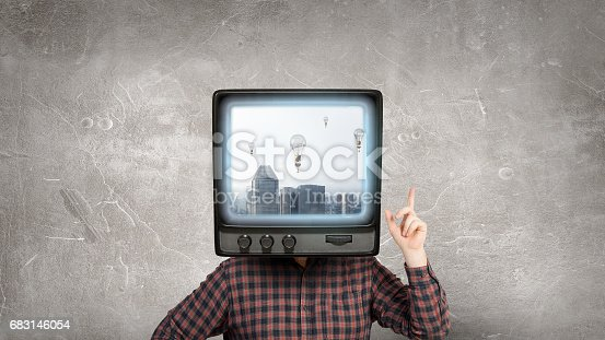 istock Problem of television addiction . Mixed media 683146054