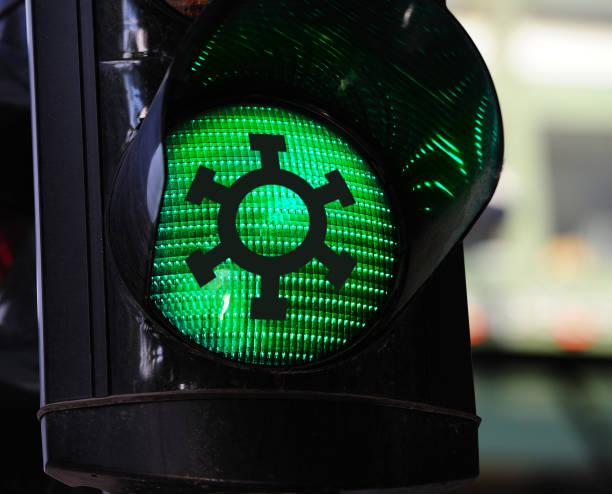 Problem over, green light after corona virus stock photo
