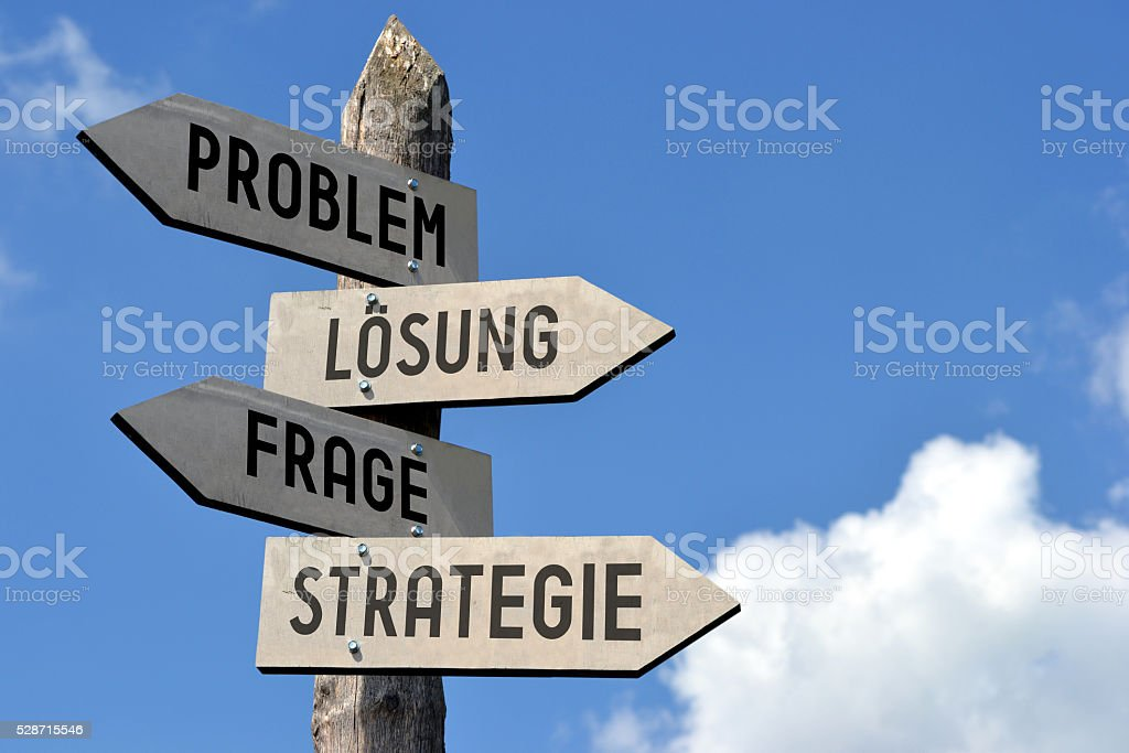 Problem, Losung, Frage, Strategie - signpost in German stock photo