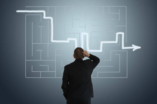 Problemlösung Labyrinth Geschäftsstrategie-Entscheidung – Foto