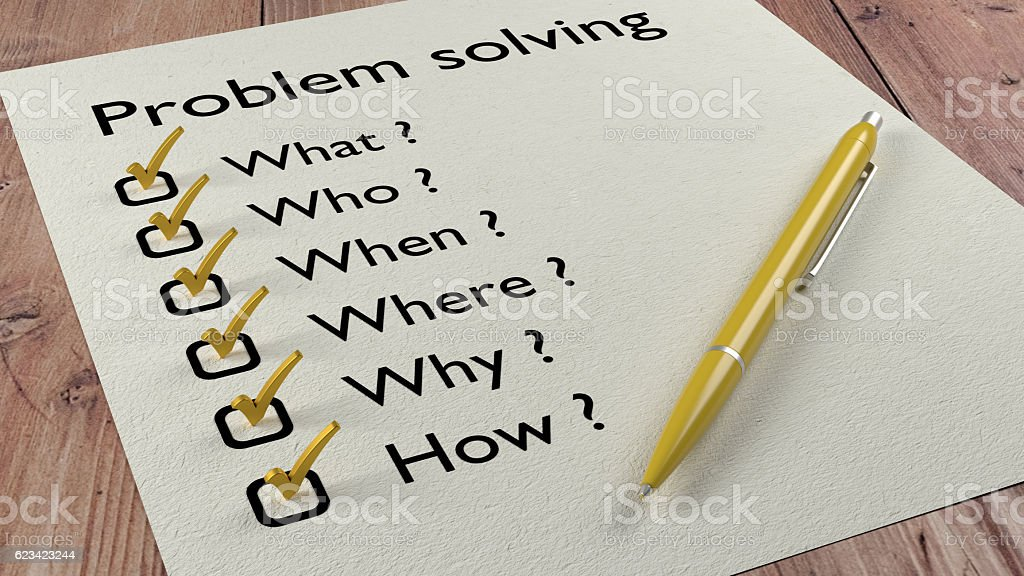 Problem solving checklist ballpen and tick marks stock photo
