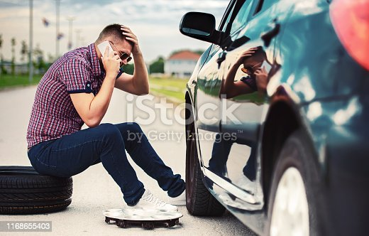 627511482 istock photo Problem with a car. A broken car on the road. Changing wheel 1168655403