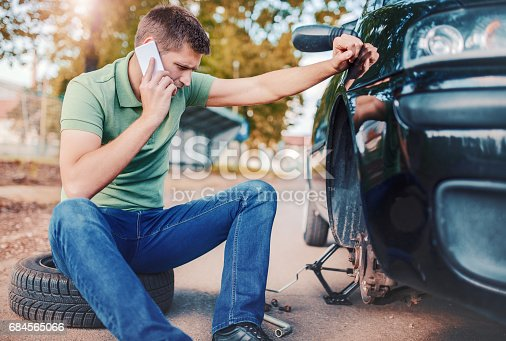 627511482 istock photo Problem with a car. A broken car on the road. Changing wheel 684565066