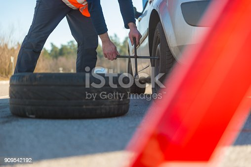 627511482 istock photo Problem with a car. A broken car on the road. Changing wheel 909542192
