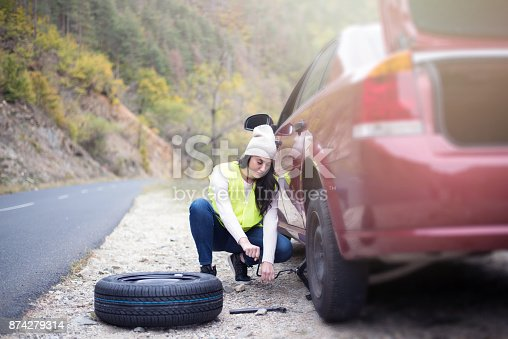 104275470istockphoto Problem with a car. A broken car on the road. 874279314
