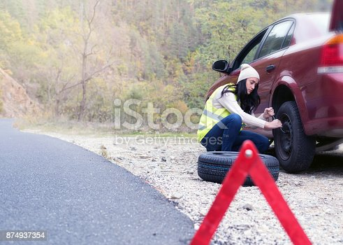 104275470istockphoto Problem with a car. A broken car on the road. 874937354