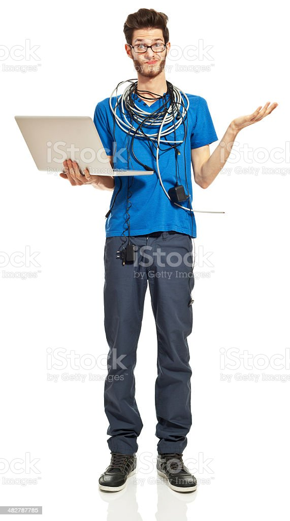 Problem with laptop Portrait of worried young man with a lot of cables on his neck, holding a laptop in hand. Studio shot, white background. 18-19 Years Stock Photo