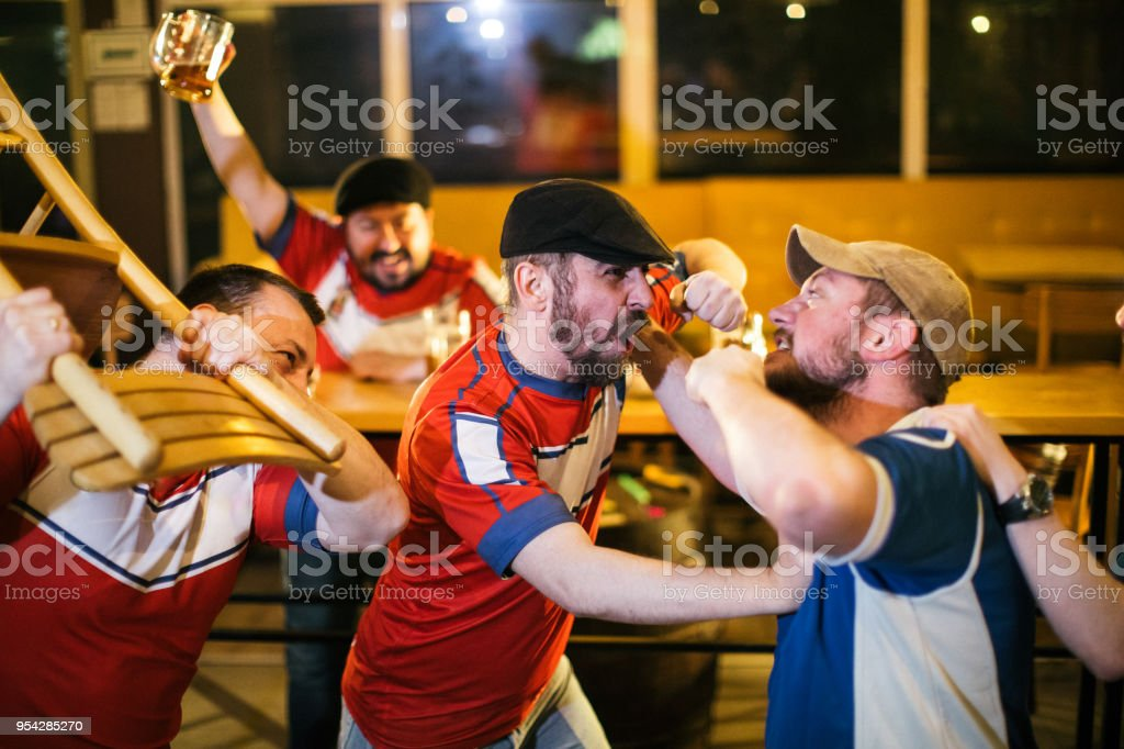 Problematic sport fans stock photo