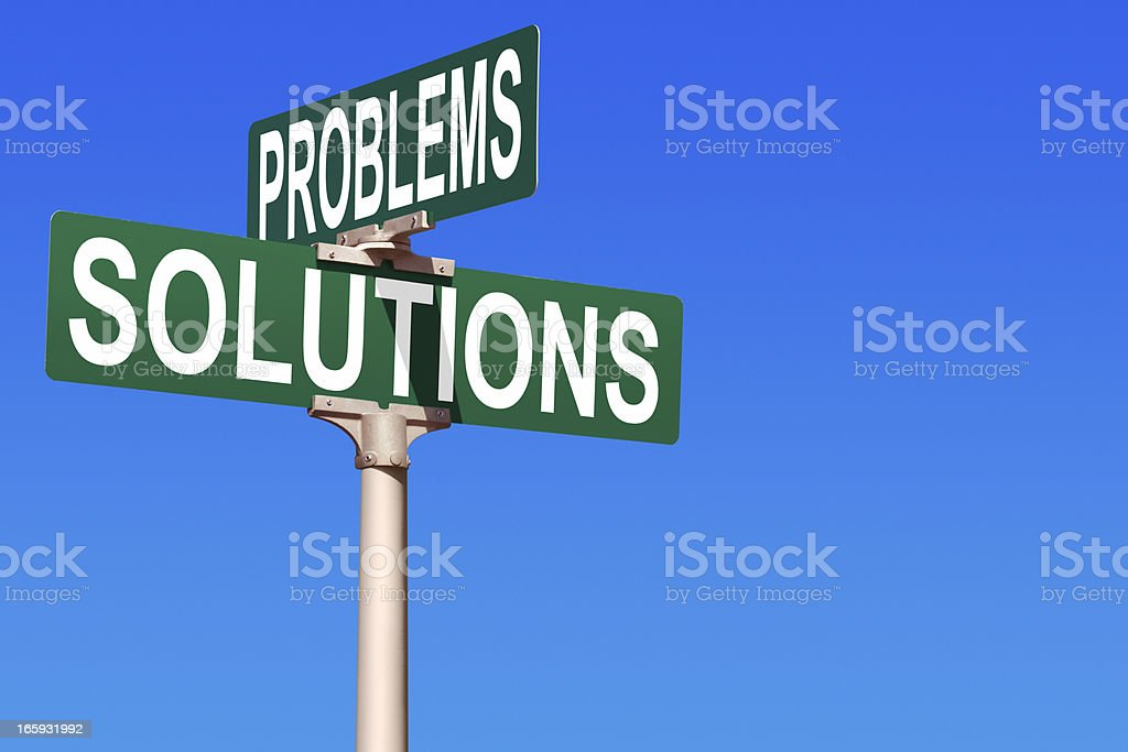 Problems and Solutions Street Sign royalty-free stock photo