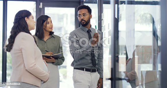 Shot of three businesspeople having a brainstorming session in an office