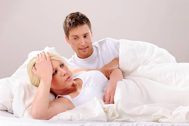 Problems in the bedroom stock photo