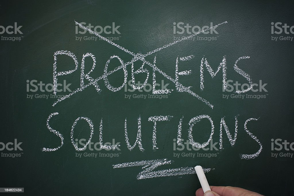 problems solutions chalk board stock photo