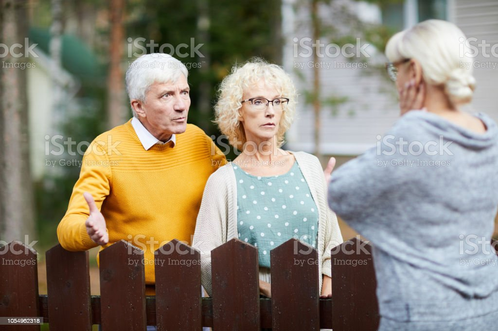 Problems with neighbours stock photo