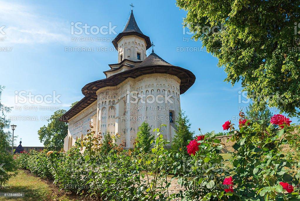 Probota Monastery in Probota, Suceava County, Romania stock photo