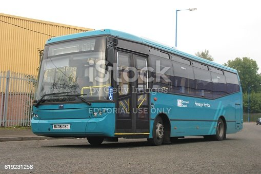 Coventry, United Kingdom - November 7th, 2006: Low-entry bus BMC Probus in UK version stopped on the street. Today BMC is one of the largest bus and truck producers in Turkey.