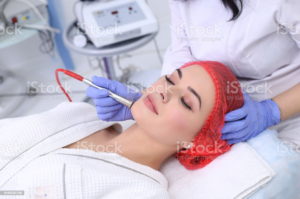 Procedure of Microdermabrasion. stock photo