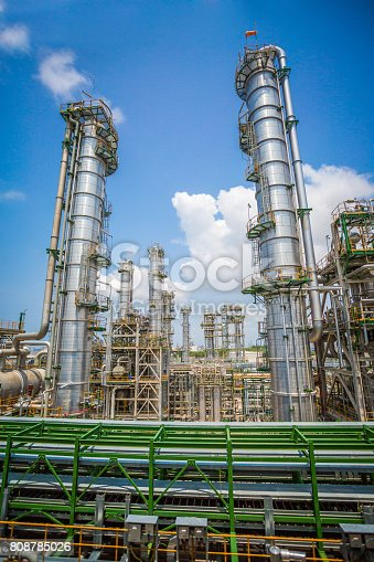 Oil refinery plant with blue sky, image for business of industrial oil and chemical petroleum refinery working concept