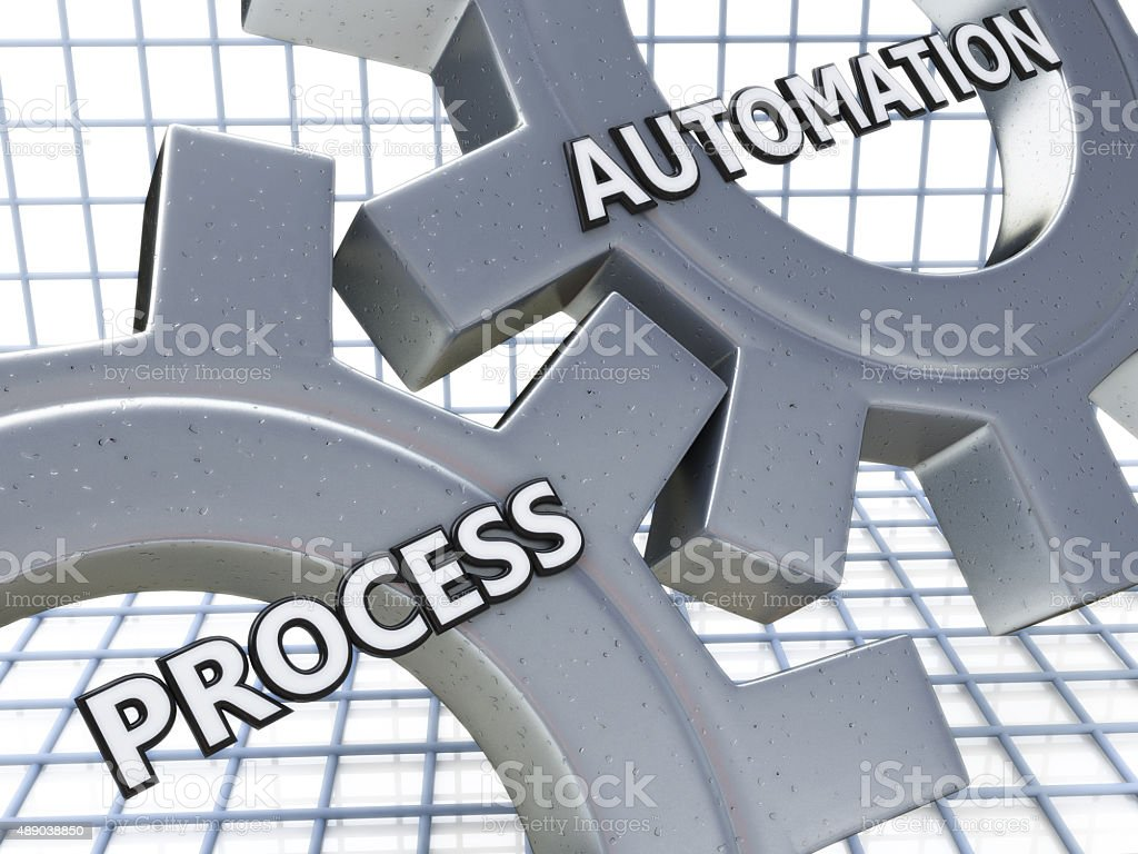 Process Automation on the Mechanism of Metal Gears stock photo