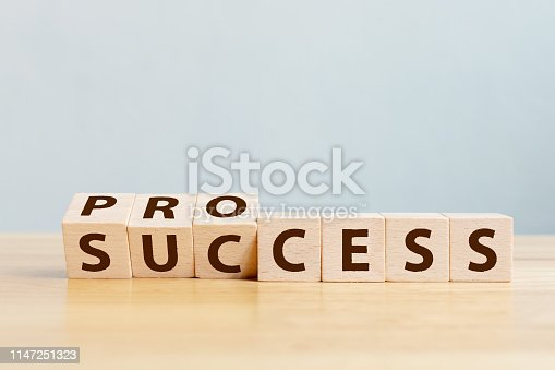 Process for success concept. Wooden cube block flip over word process to success on wood table