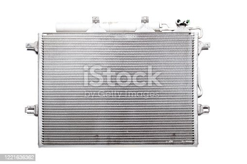 istock Process in cooling radiator: the cooler takes the thermal energy from heated motor, with pumps, where it cools and returns to motor. The system device does not allow mixing of oil, fuel and antifreeze 1221636362