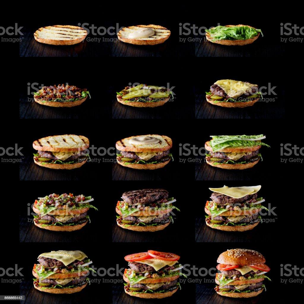 Processus de fabrication de burger, étape par étape sur fond noir - Photo