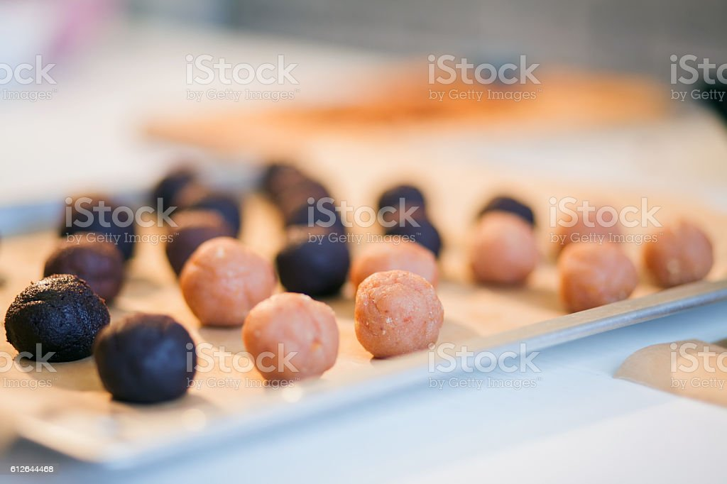 Process of baking homemade cake pops stock photo