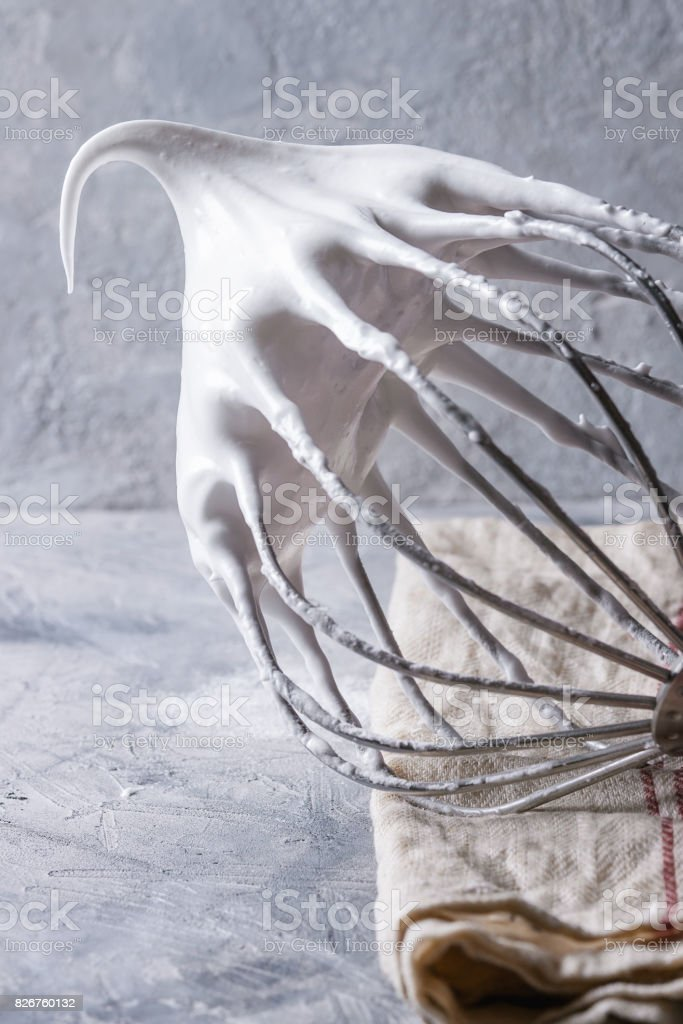 Process of cooking meringue stock photo