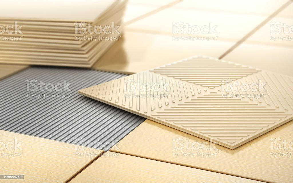 Process of floor coating. Ceramic tile on a tiled floor. 3d illustration stock photo
