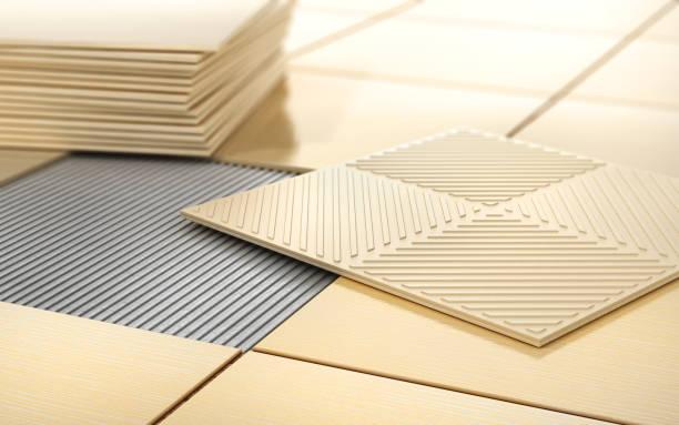 prozess der bodenbeschichtung. keramische fliesen auf einen fliesenboden. 3d illustration - fliesenkleber stock-fotos und bilder
