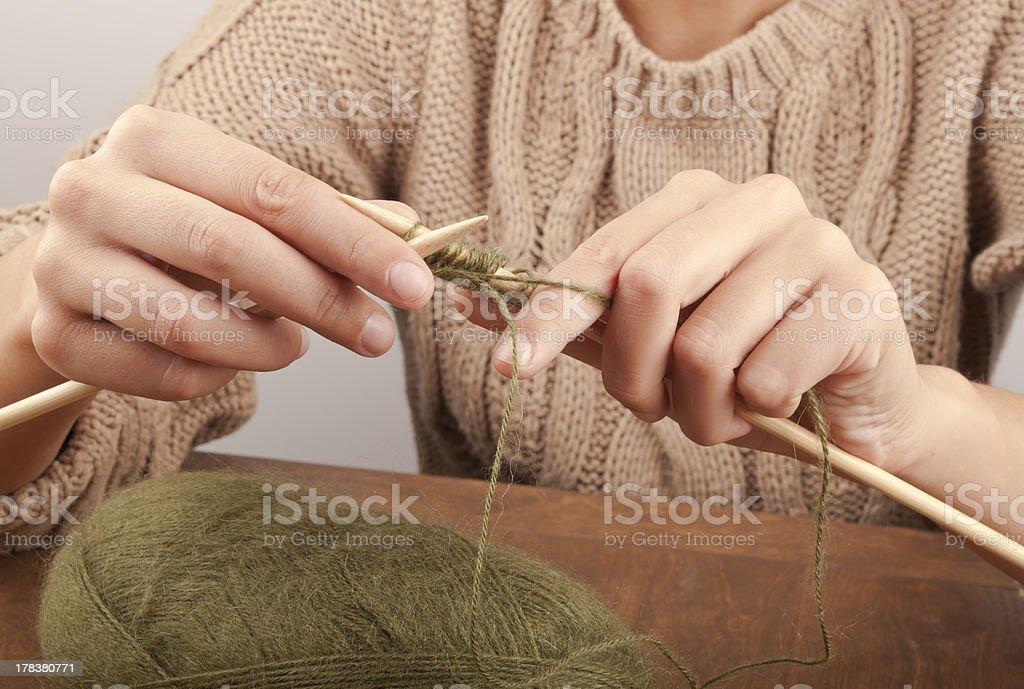 process of knitting royalty-free stock photo