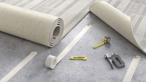 Process of laying cozy beige carpet on floor, 3d illustration stock photo