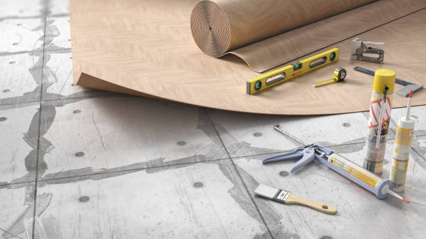 Process of laying linoleum on floor, 3d illustration Process of laying linoleum on floor, 3d illustration linoleum stock pictures, royalty-free photos & images