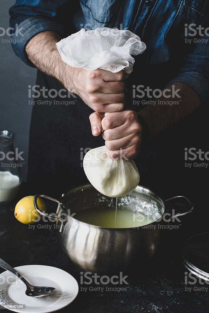 Process of making cheese stock photo