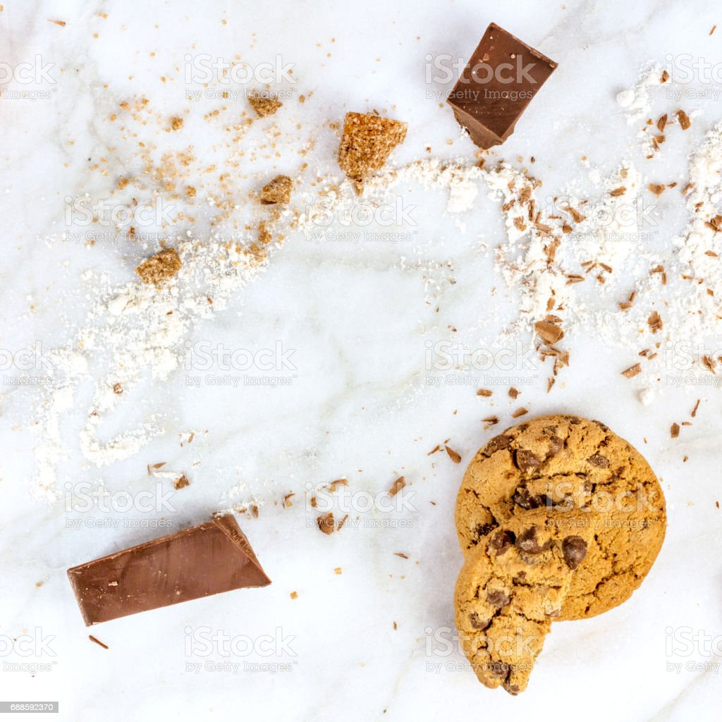 Process of making chocolate chips cookies, with flour and sugar stock photo