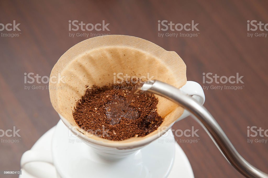 Process of making drip coffee (pour over coffee) royalty-free stock photo