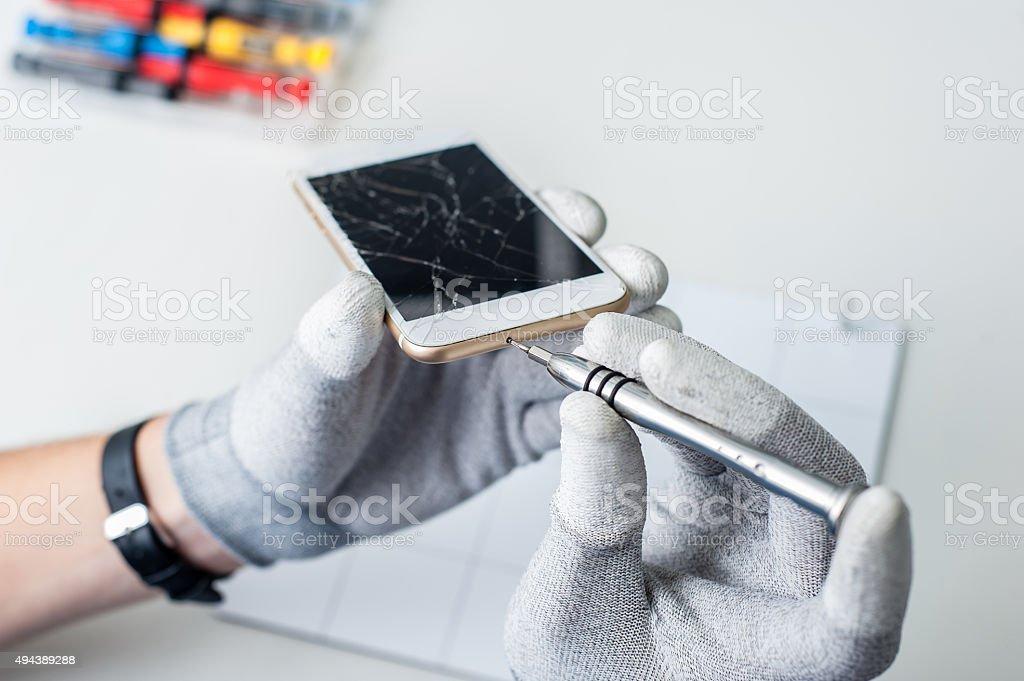 Process of mobile phone repair stock photo