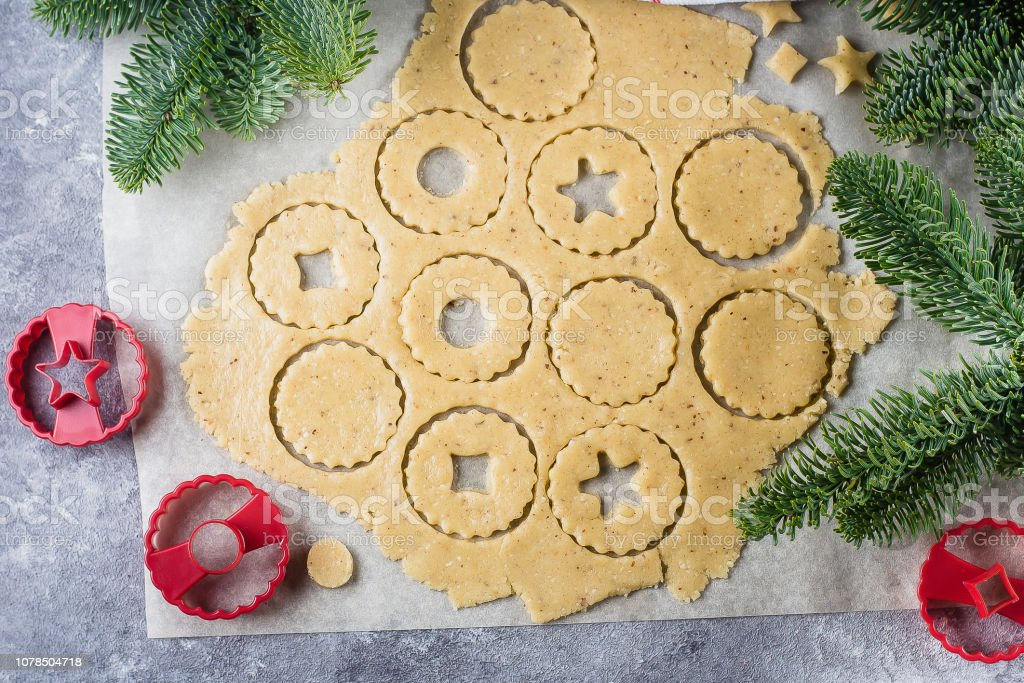 Process Traditional Christmas Cookies Raw Dough And Cutters