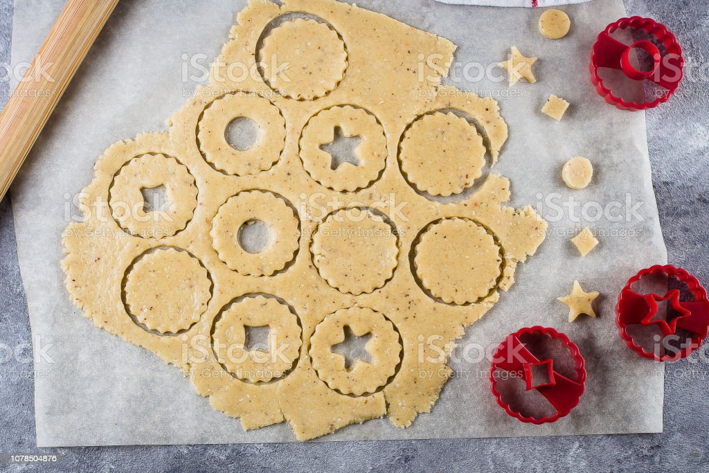 Process Traditional Christmas Cookies Raw Dough And Cutters For The