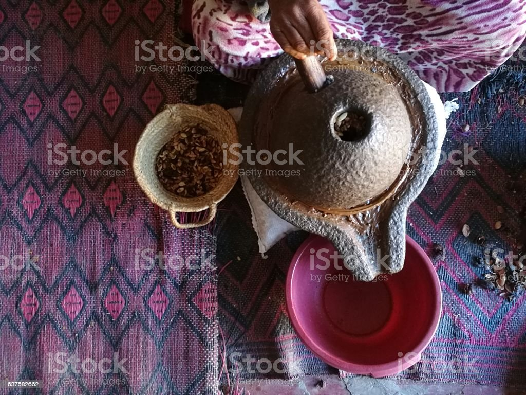 Processing argan seeds stock photo